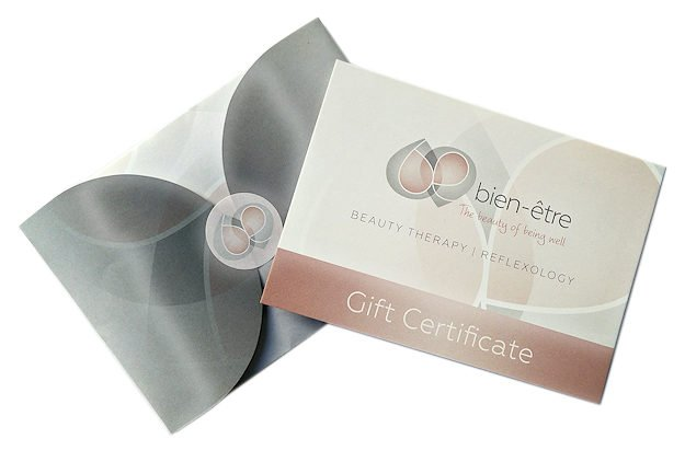 beauty therapy and reflexology gift certificate